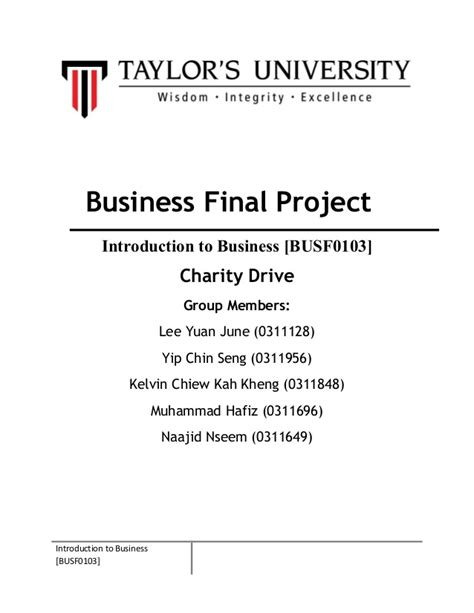 preface sles for a project report introduction to business project report