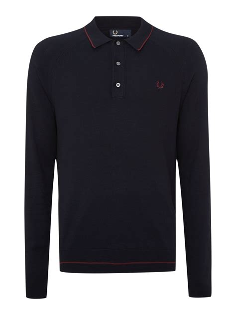 Polo Shirt 9 Inches Raglan Original Navy fred perry raglan knitted tipped sleeve polo shirt in blue for lyst