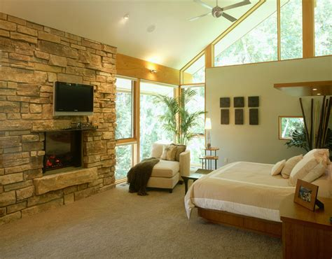 Stone Fireplace Hearths - vaulted master bedroom with stone fireplace and raised hearth contemporary bedroom