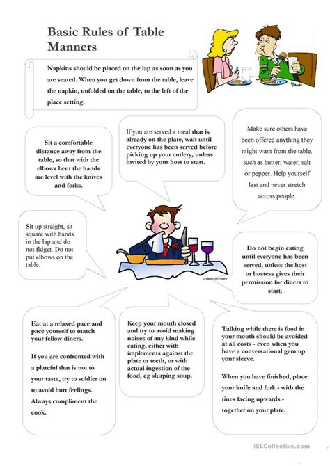Table Manners Worksheet by Table Manners Worksheet Photos Getadating