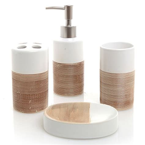 Beige Bathroom Accessories Set Bathroom Accessory Sets Deluxe 4 White Beige Ceramic