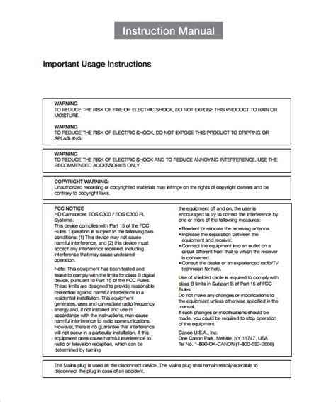 sample instruction manual template 9 documents in pdf