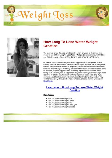 creatine to lose weight how to lose water weight creatine
