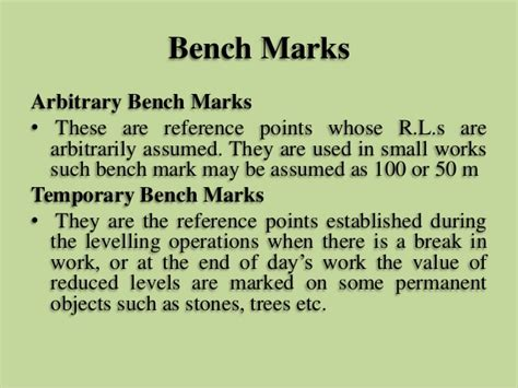 permanent bench mark levelling