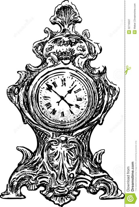 old watch stock vector image of dial object mantel