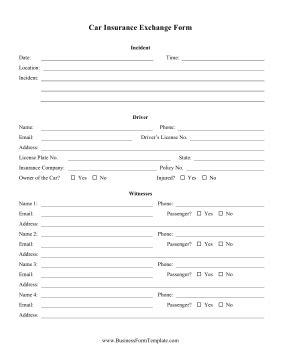 Car Insurance Exchange Form Template Car Insurance Form Template