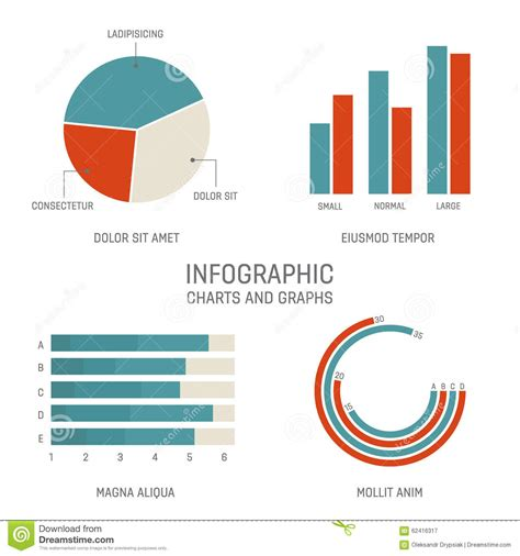 graph and diagram icon set stock vector illustration of set of infographics statistics charts and graphs stock