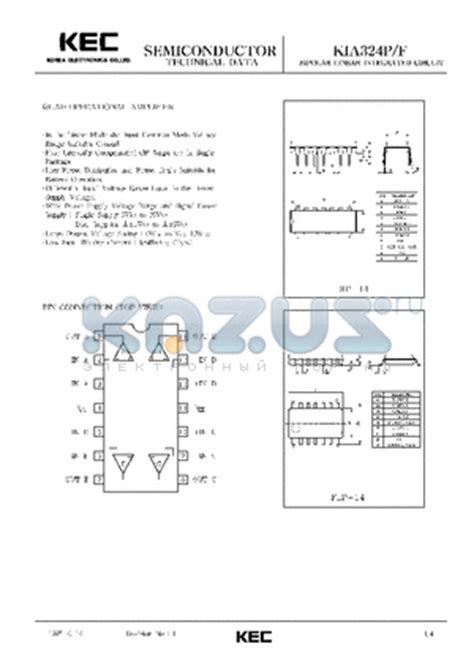 Kec Kia324p kia324p datasheet bipolar linear integrated circuit operational lifier kia324p pdf