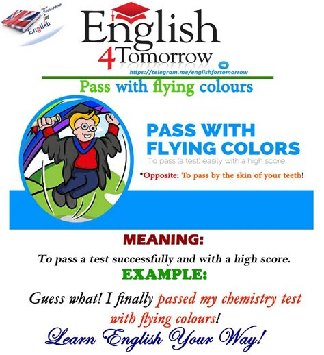 flying colors meaning quot to pass with flying colours quot means to pass a test with a