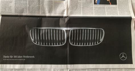 mercedes vs bmw ads mercedes congratulates bmw on completing 100 years with