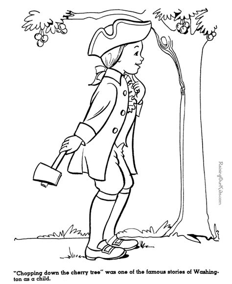 coloring page of a cherry tree george washington and cherry tree coloring page for kid