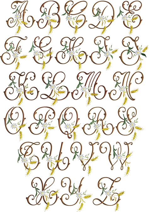 lettere iniziali iniziali cifre alfabeto ricamo classico fiori grano spighe