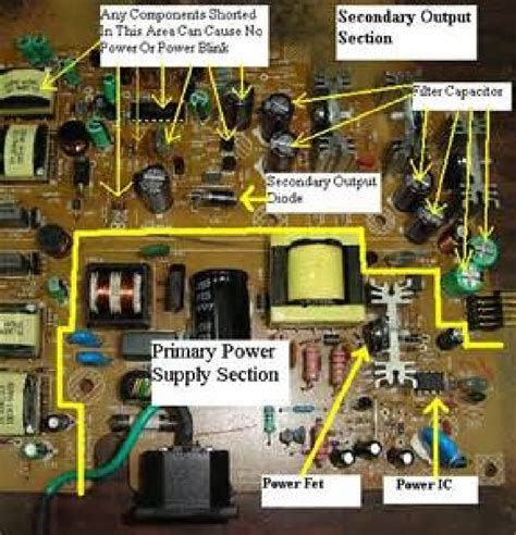 vertical section of tv troubleshooting power supply smps diy forums