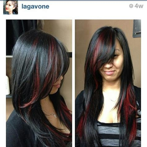 black hair with highlights underneath wallpaper red hair red on black hair pinterest