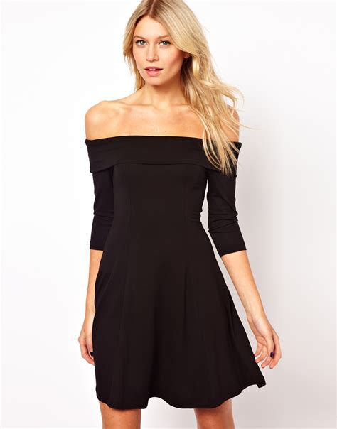 Black Shoulder Dress asos skater dress with shoulder neckline in black lyst