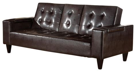 leather futon with cup holders new espresso bycast pu leather adjustable futon sofa bed