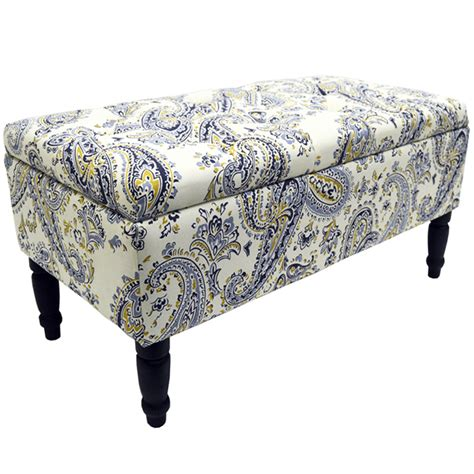 paisley ottoman paisley storage ottoman stool blanket box padded trunk blue black watson s