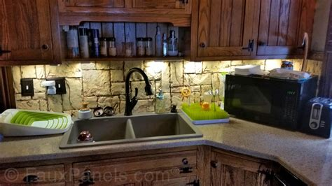 Stone Veneer Kitchen Backsplash by Faux Rock Backsplash Creative Faux Panels