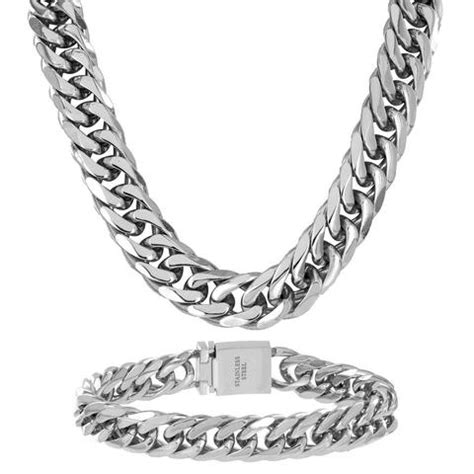 Kalung Pria Italianl Chain 7mm Titanium 316l Steel Ukuran Sedang 1 stainless steel chains solid 14k yellow gold finsh stainless steel 185mm thick miami cuban link