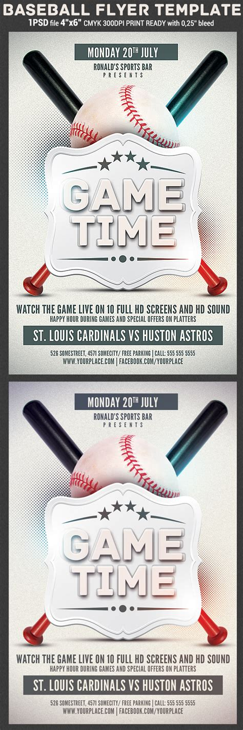 Baseball Game Flyer Template On Behance Baseball Flyer Template