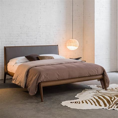 allyson italian wooden bed with upholstered