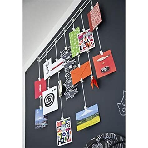 hanging photo organizer rail with chains and 32 clips gray hanging photo organizer rail with chains and 32 clips