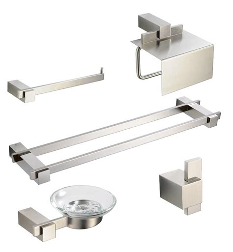 bathroom towel bar sets brushed nickel fresca fac1400bn d ellite 5 piece bathroom accessory set