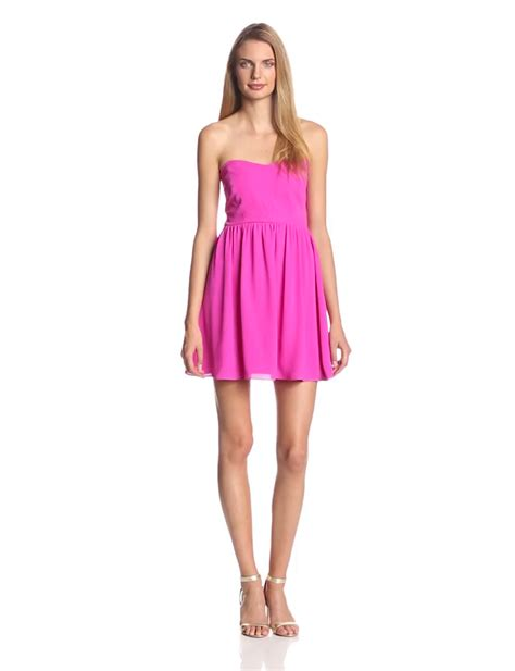 Pm Fushie Dress Fn aesthetic official eight sixty women s strapless fit and flare dress fuschia x small