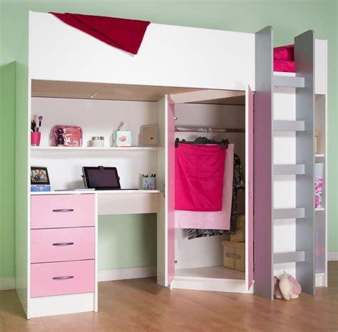Calder High Sleeper Cabin Bed With Desk Wardrobe Drawers Cabin Bed With Desk