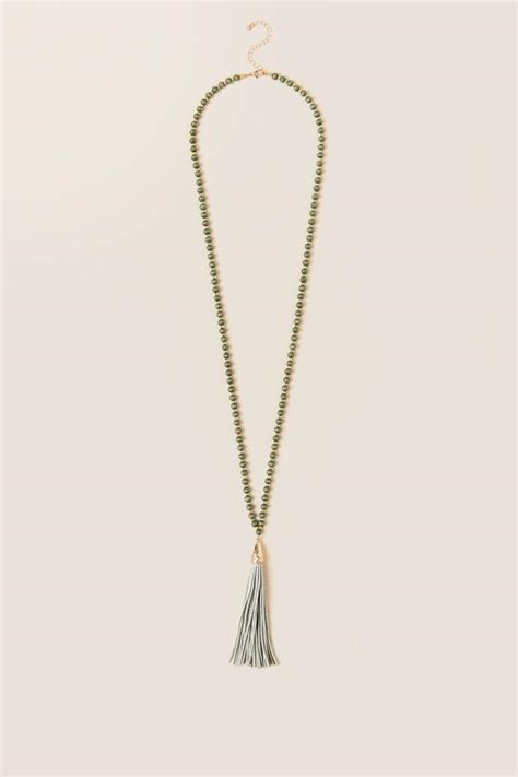 wood bead tassel necklace nylah wood bead tassel necklace in olive s