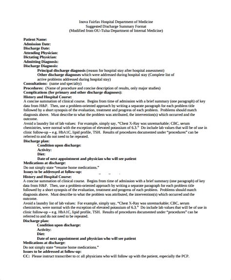 sample discharge summary templates  ms word