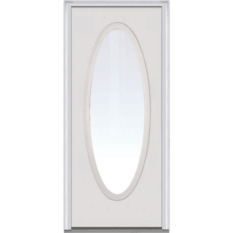 Oval Glass Doors Mmi Door 30 In X 80 In Clear Glass Left Large Oval Classic Primed Steel Prehung Front
