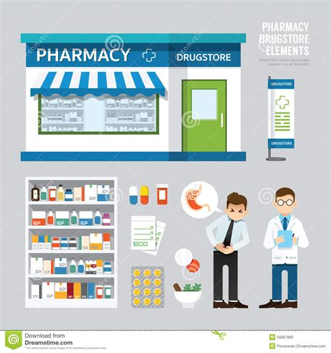 store layout vector vector pharmacy drugstore set design shop store package