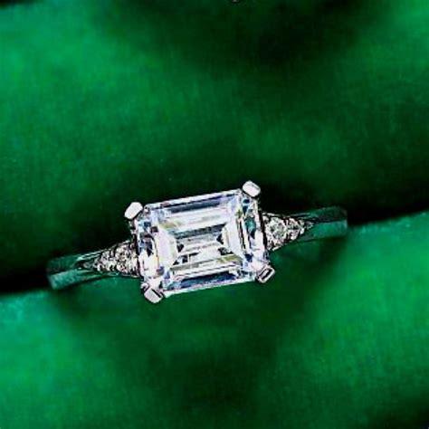 horizontal set emerald cut emerald cut rings