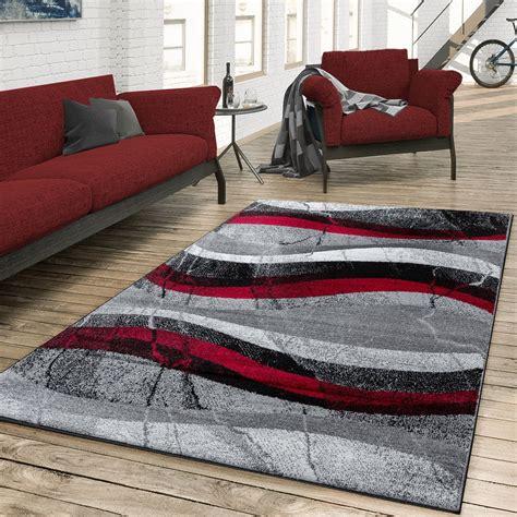 schlafzimmer teppich grau teppich wohnzimmer modern gewellte musterung grau rot