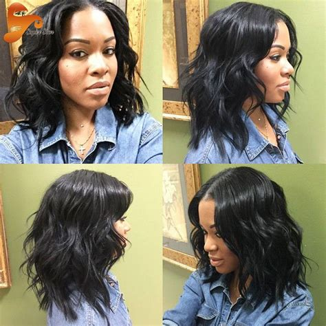 middle part wavy hairstyles with weave for black women cheap wig top buy quality wig male directly from china