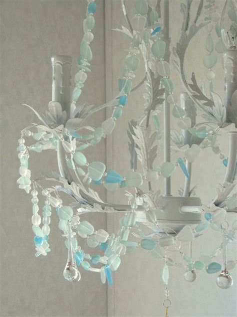 Sea Glass Chandeliers Sea Glass Chandelier Cottage Chic By Coastalradiancelites For The Home Pinterest