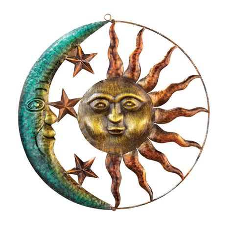 sun sculpture sun and moon metal wall art by collections etc ebay