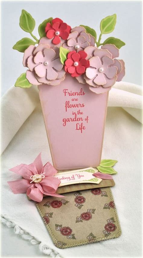 flower pot gift card holder template thinking of you pocket card just because vintage labels