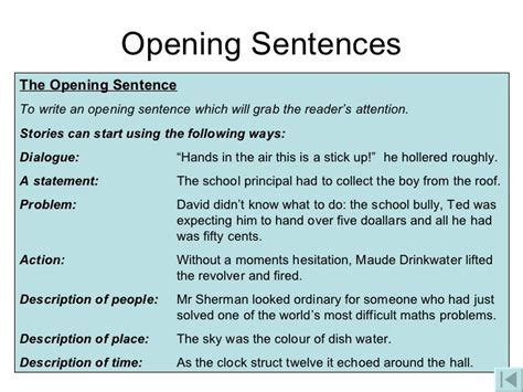 Starting Sentences For An Essay by Ways To Start A Narrative Essay Narrative Essay Presentation Home Resume Du Ap