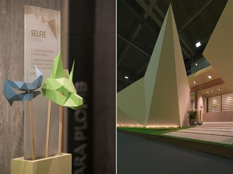 Origami Installation - origami installation by novoceram for cersaie 2017
