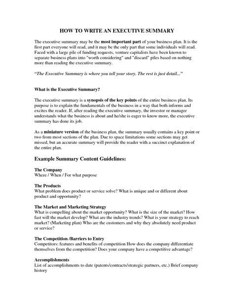 Executive Summary Resume Exle by Resume Booklet Writing Executive Summary Template Template