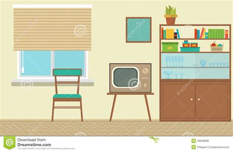 Living Room Flat Design Vector Interior Of A Living Room With Furniture Vintage Room
