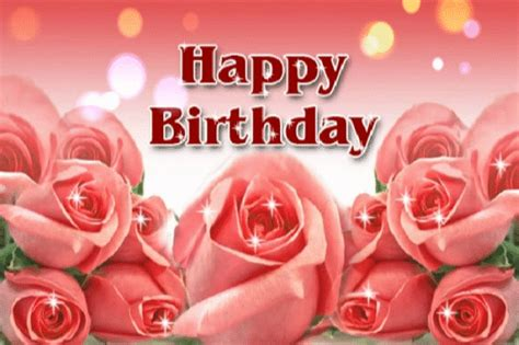 Happy Birthday Wishes With Roses Animated Happy Birthday Greeting Ecard With Rose Flowers