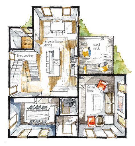 home design sketchbook real estate watercolor 3d floor plan i on behance