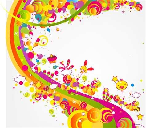 what color is happy abstract happy cute rainbow color vector illustration