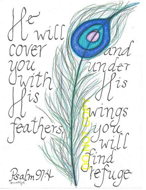peacock feather tattoo quotes psalm 91 4 word art by guitarmom on etsy 20 00 quotes
