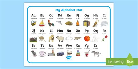 a b c to z in french alphabet a to z french word mat french alphabet picture