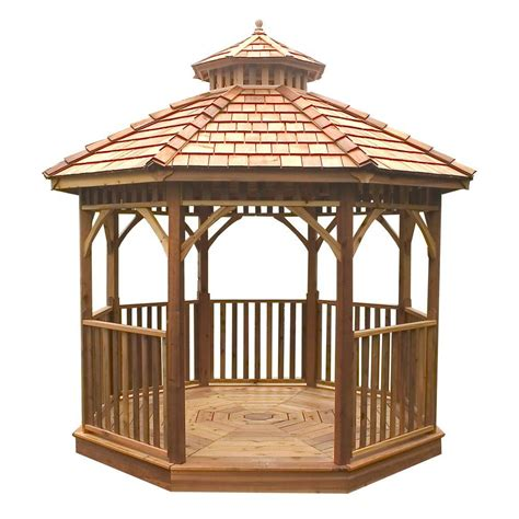 backyard gazebos home depot outdoor living today 10 ft bayside octagon panelized