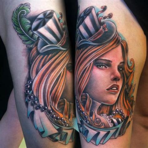 tattoo new school girl new school women thigh hat tattoo by johnny smith art